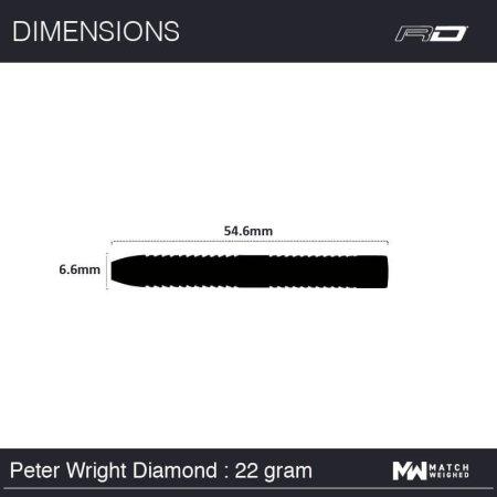 Red Dragon Šipky Steel Peter Wright Snakebite World Champion Diamond - 22g