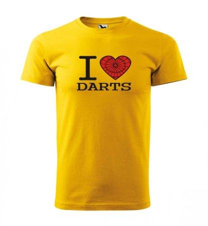 Malfini Triko s potiskem - I Love Darts - yellow - 4XL