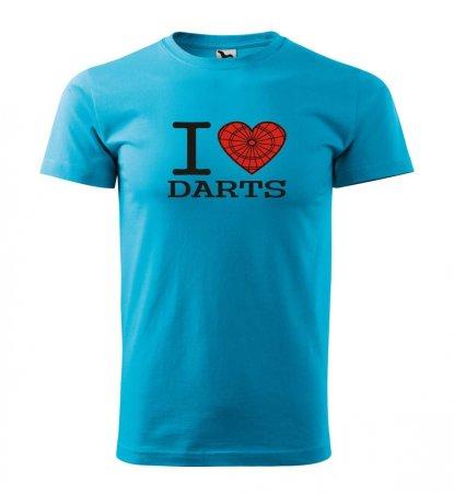 Malfini Triko s potiskem - I Love Darts - turquoise - XS