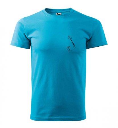 Malfini Triko s potiskem - Srdíčko - turquoise - XS