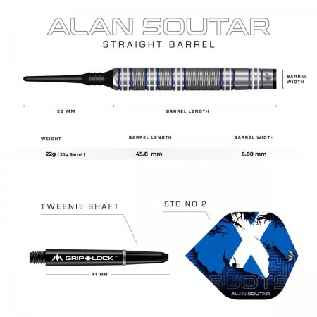 Mission Šipky Alan Soutar - Blue & White - 22g