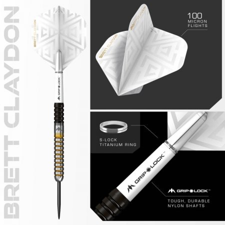 Mission Šipky Steel Brett Claydon - Black & Gold - 22g