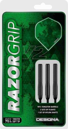 Designa Šipky Razor Grip V2 - Black - M1 - 20g