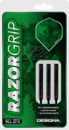 Designa Šipky Razor Grip V2 - Black - M4 - 20g